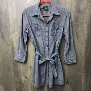 Anthropologie Fei Chambray Button Front Dress